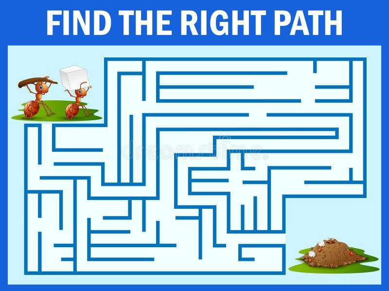 Il gioco del labirinto trova un modo del ` s della formica al nido della formica illustrazione di stock