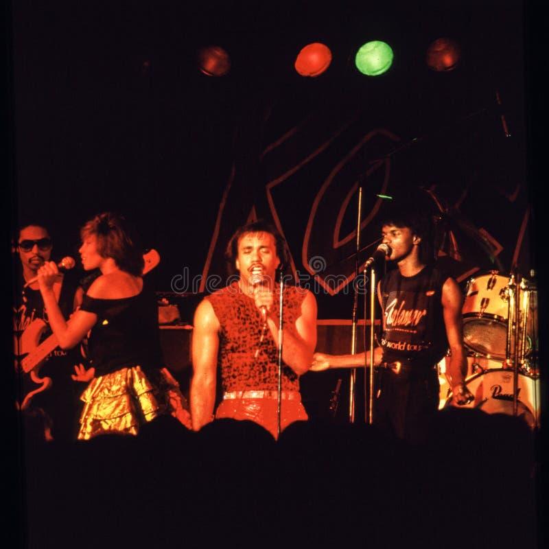 Il gioco della banda di Shalamar vive nell'inizio degli anni 80 del Regno Unito alla fine del 1970 s immagine stock