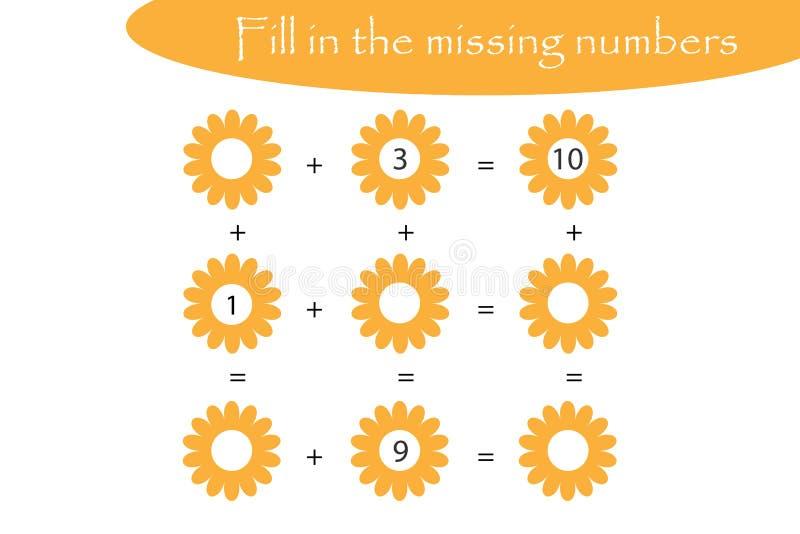 Il gioco di matematica con i fiori per i bambini, riempie i numeri mancanti, il livello facile, il gioco per i bambini, foglio di illustrazione vettoriale