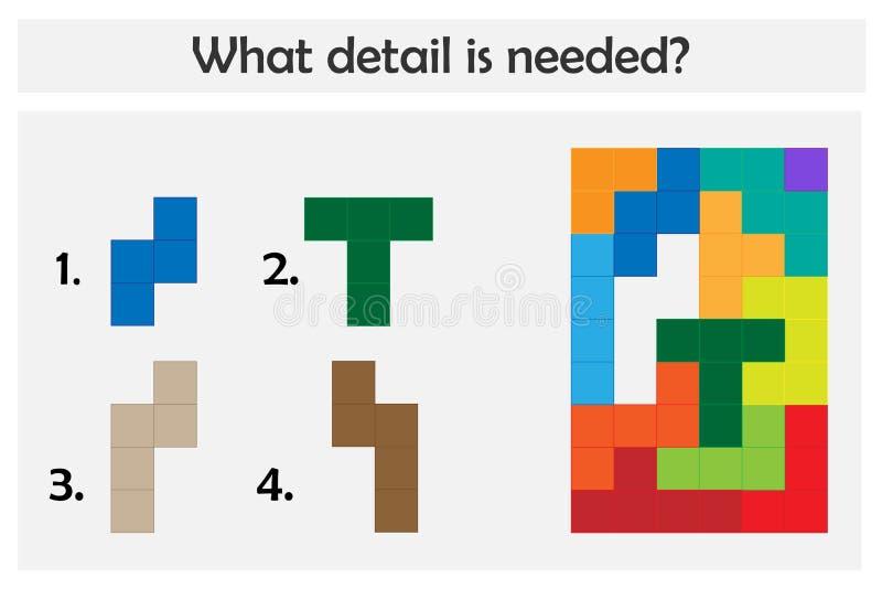 Il gioco di puzzle con i dettagli variopinti per i bambini, sceglie il dettaglio necessario, il livello facile, il gioco per i ba illustrazione di stock