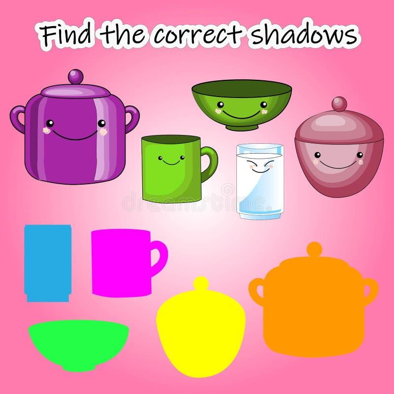 Il gioco educativo dei bambini, trova la siluetta giusta dell'ombra Cucina, messa a punto il gioco per trovare la tonalità giusta illustrazione vettoriale