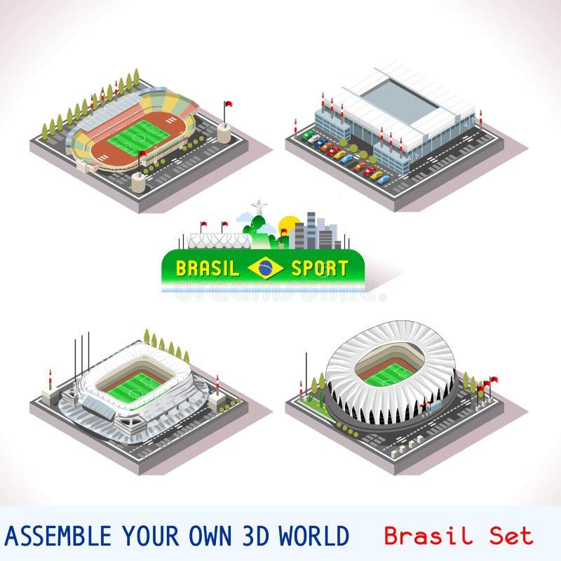 Il gioco ha fissato la costruzione 10 isometrica royalty illustrazione gratis