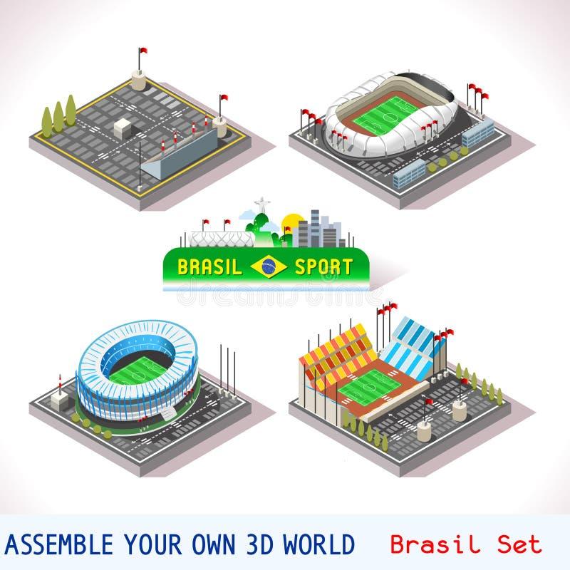 Il gioco ha fissato la costruzione 09 isometrica illustrazione di stock