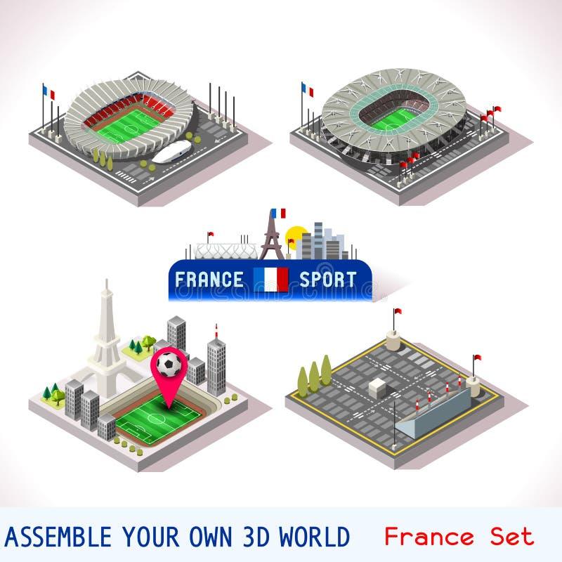 Il gioco ha fissato la costruzione 19 isometrica royalty illustrazione gratis