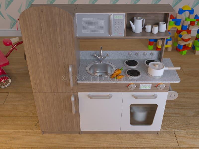 Il gioco interno di progettazione della cucina dei bambini ha messo con gli accessori royalty illustrazione gratis