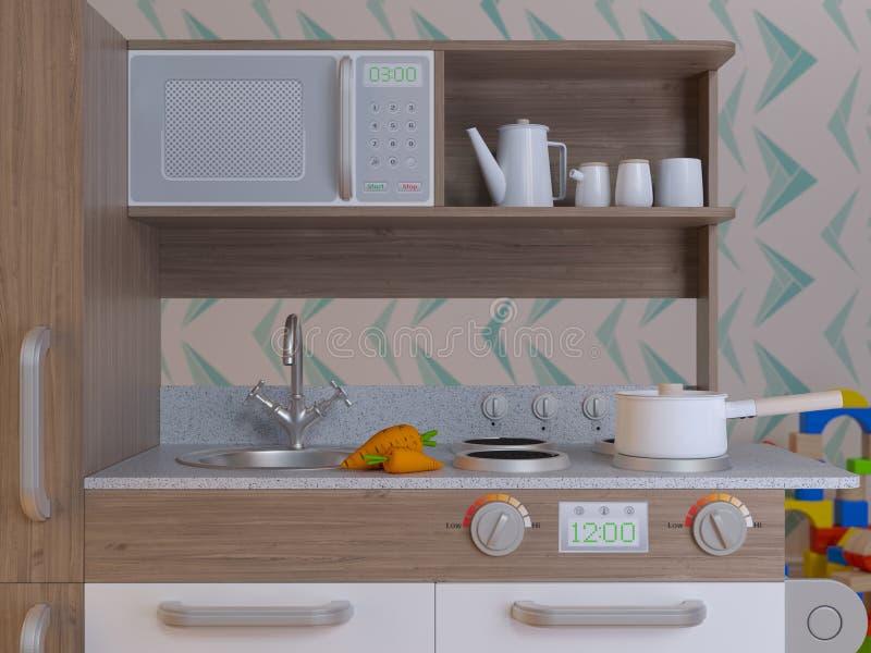 Il gioco interno di progettazione della cucina dei bambini ha messo con gli accessori illustrazione di stock