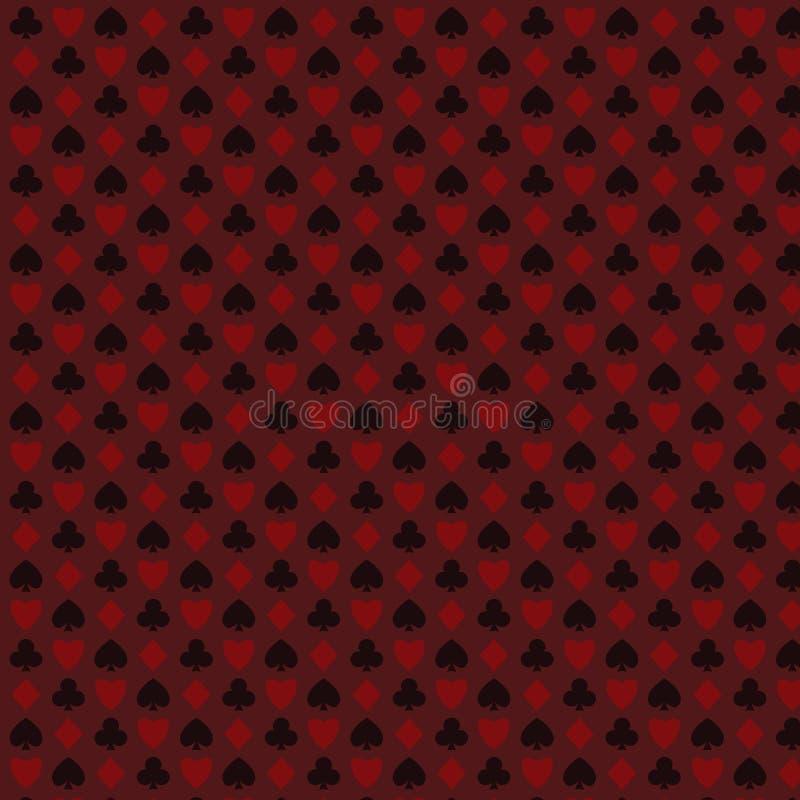 Il gioco, poker, black jack carda il rosso senza cuciture del modello di simbolo illustrazione di stock
