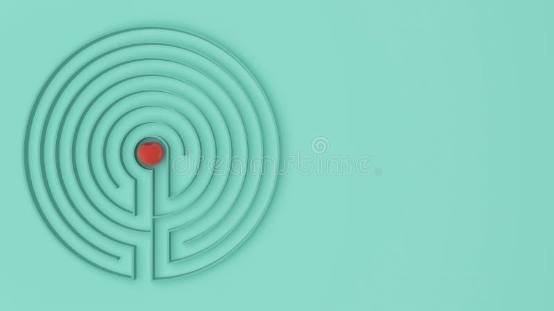 Il gioco rotondo del labirinto del labirinto del turchese con l'entrata e l'uscita, trova il percorso al concetto della mela, ide fotografia stock