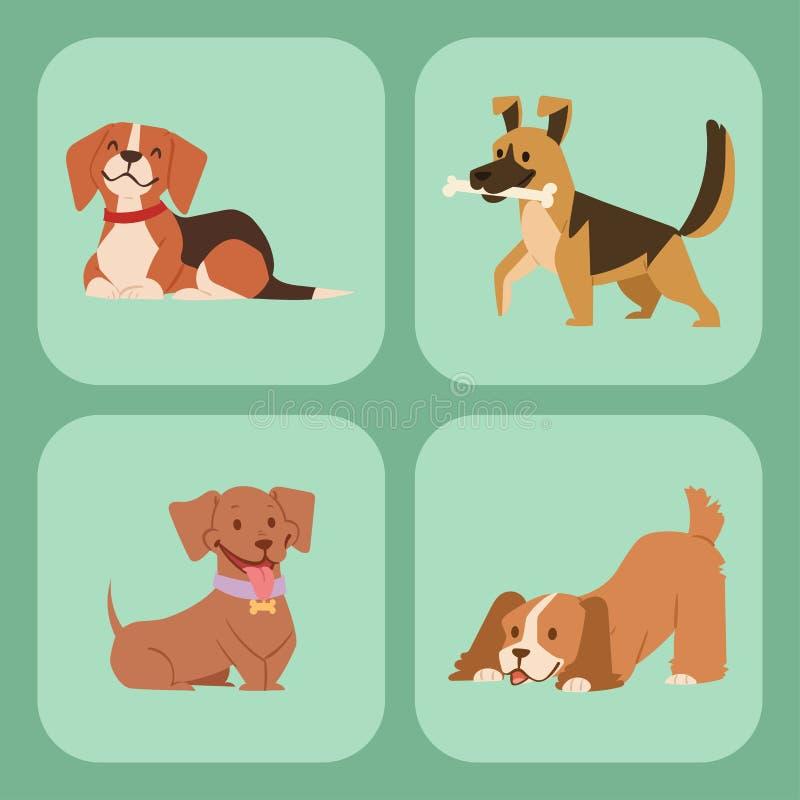 Il gioco sveglio del cucciolo insegue l'illustrazione canina di vettore della razza del mammifero felice comico di razza diverten illustrazione di stock