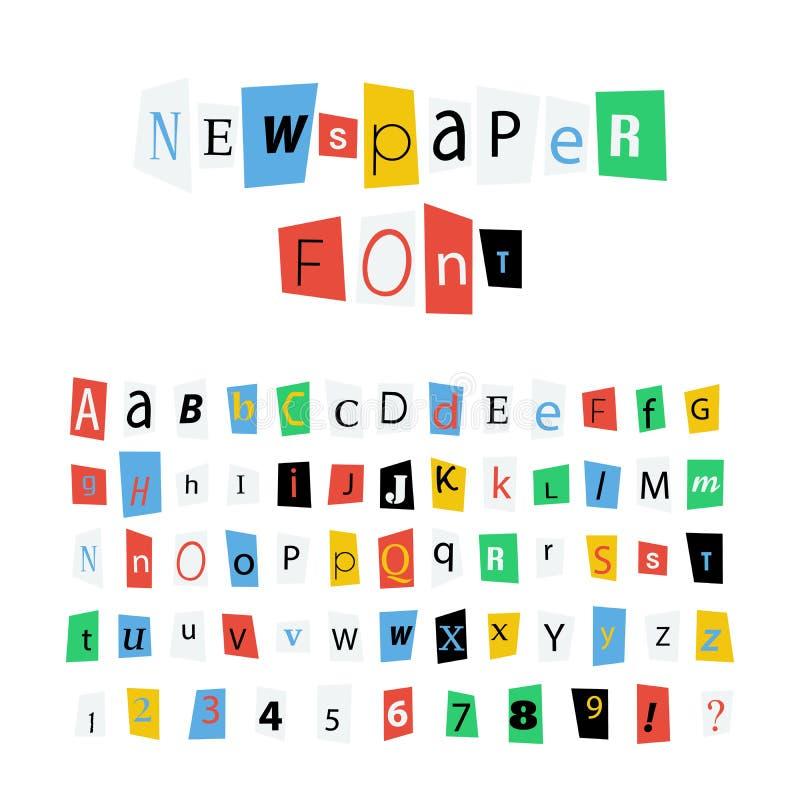 Il giornale variopinto segna la fonte, i segni dell'alfabeto latino ed i numeri con lettere su bianco illustrazione di stock