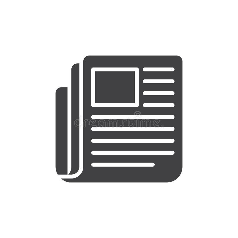 Il giornale, vettore dell'icona di notizie, ha riempito il segno piano, pittogramma solido isolato su bianco illustrazione vettoriale