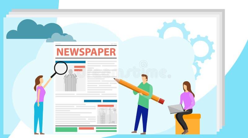 Il giornalista pubblica il testo del giornale Pubblicazione dell'articolo, censura Edizione stampata Vettore royalty illustrazione gratis