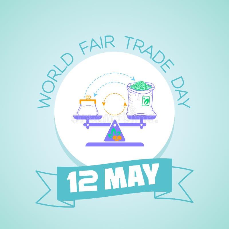 Il giorno 12 del commercio equo e solidale del mondo può royalty illustrazione gratis