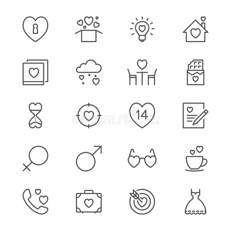 Il giorno del ` s del biglietto di S. Valentino assottiglia le icone illustrazione vettoriale