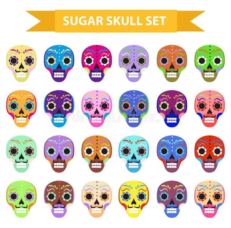 Il giorno della festa morta nelle icone del Messico ha messo con i crani dello zucchero Stile piano Raccolta di scheletro Concett illustrazione di stock