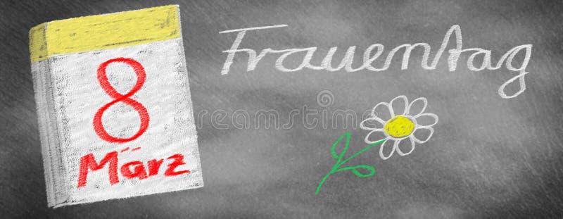 Il giorno delle donne - 8 marzo, strato del calendario ed ardesia attinta fiore illustrazione di stock
