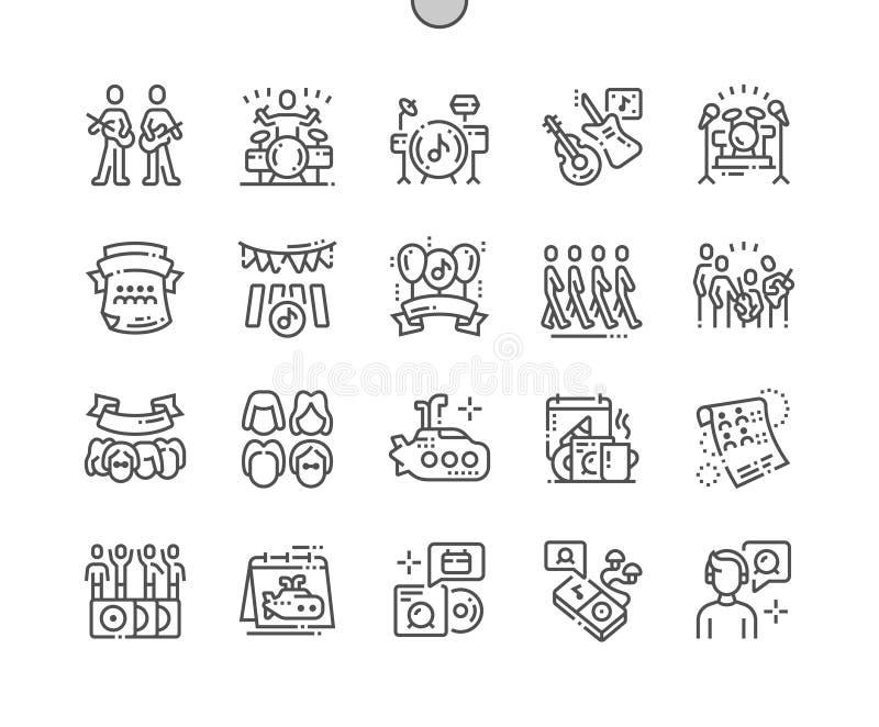 Il giorno di Beatles del mondo Ben-ha elaborato la linea sottile la griglia 2x delle icone 30 di vettore perfetto del pixel per i illustrazione di stock