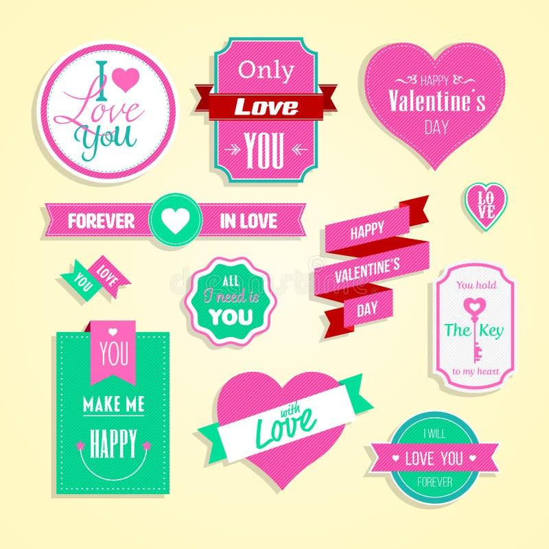 Il giorno di biglietti di S. Valentino felice carda l'insieme di elementi illustrazione di stock