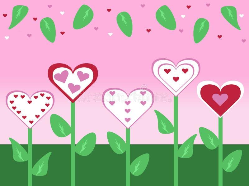 Il giorno di biglietti di S. Valentino tagliato antiquato astratto del fiore e della foglia di stile carda l'illustrazione del fo illustrazione vettoriale