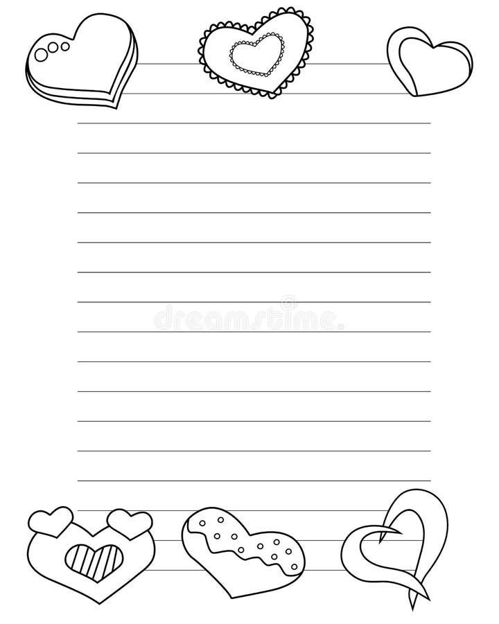 Il giorno di biglietti di S. Valentino ha stilizzato il foglio di carta con i cuori e le linee per i colori della lettera di amor illustrazione di stock