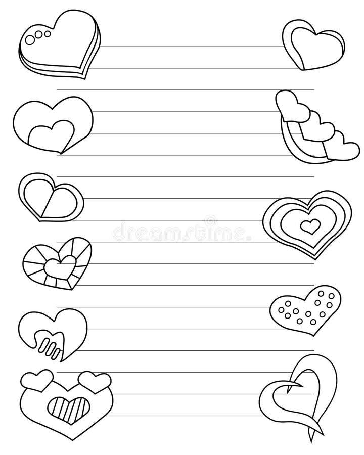 Il giorno di biglietti di S. Valentino ha stilizzato il foglio di carta con i cuori e le linee per i colori della lettera di amor illustrazione vettoriale