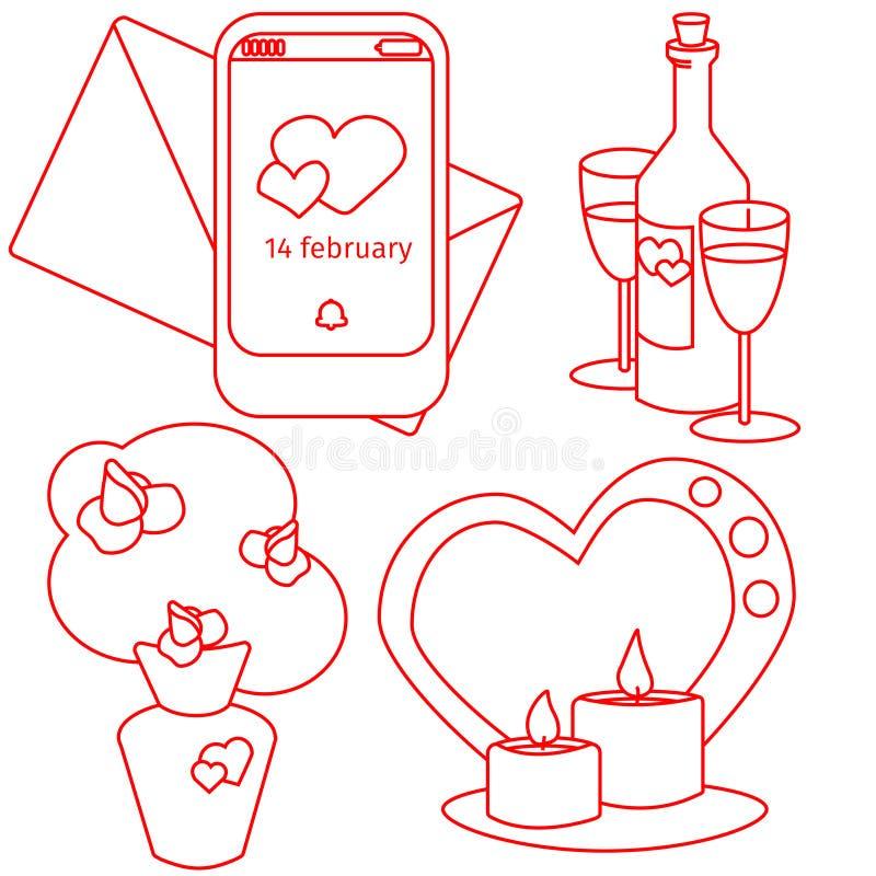 Il giorno di biglietti di S. Valentino di vettore ha messo il bouque, vite candele e notifica illustrazione di stock