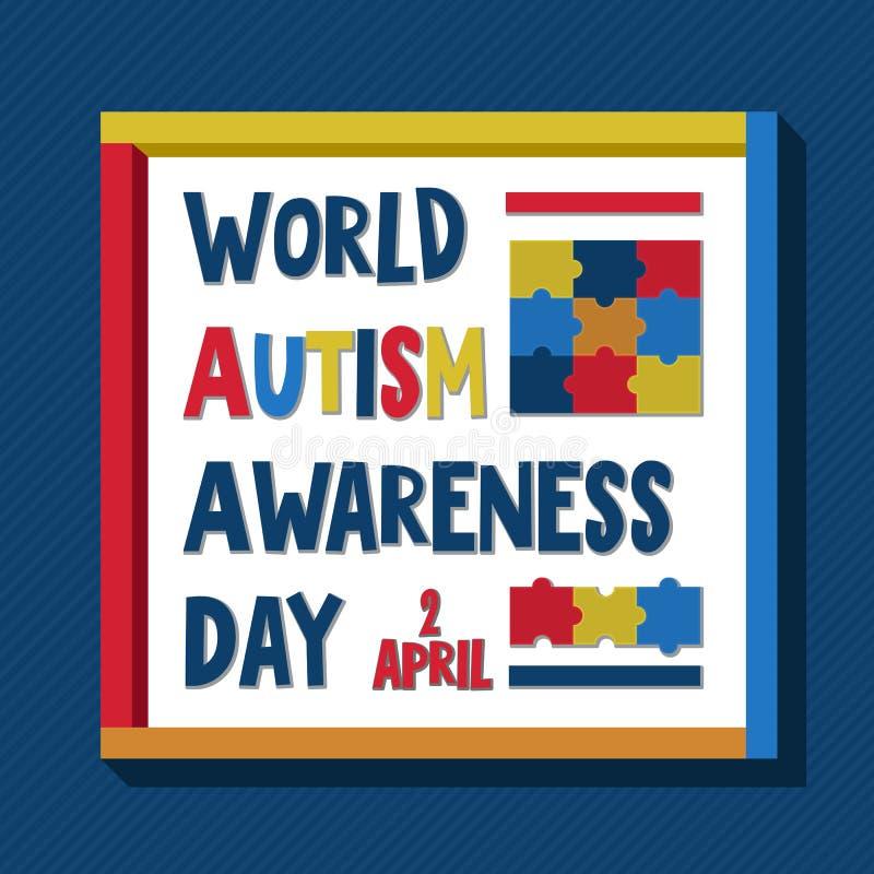 il giorno di consapevolezza di autismo del mondo illustrazione di stock
