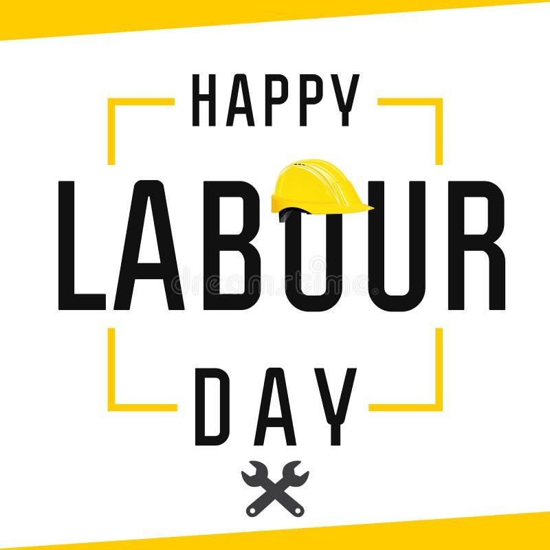 Il giorno di lavoro felice, segnante il primo con lettere può con il casco e le chiavi gialli royalty illustrazione gratis