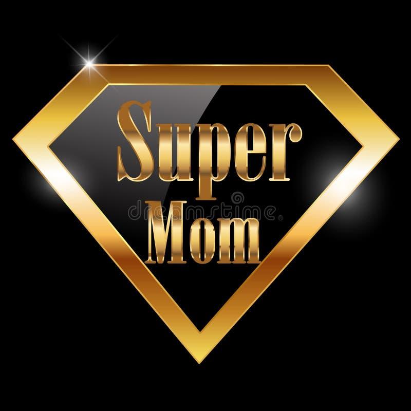 Il giorno di madri felice, amo la cartolina d'auguri della mamma con il testo dorato dell'eroe eccellente royalty illustrazione gratis