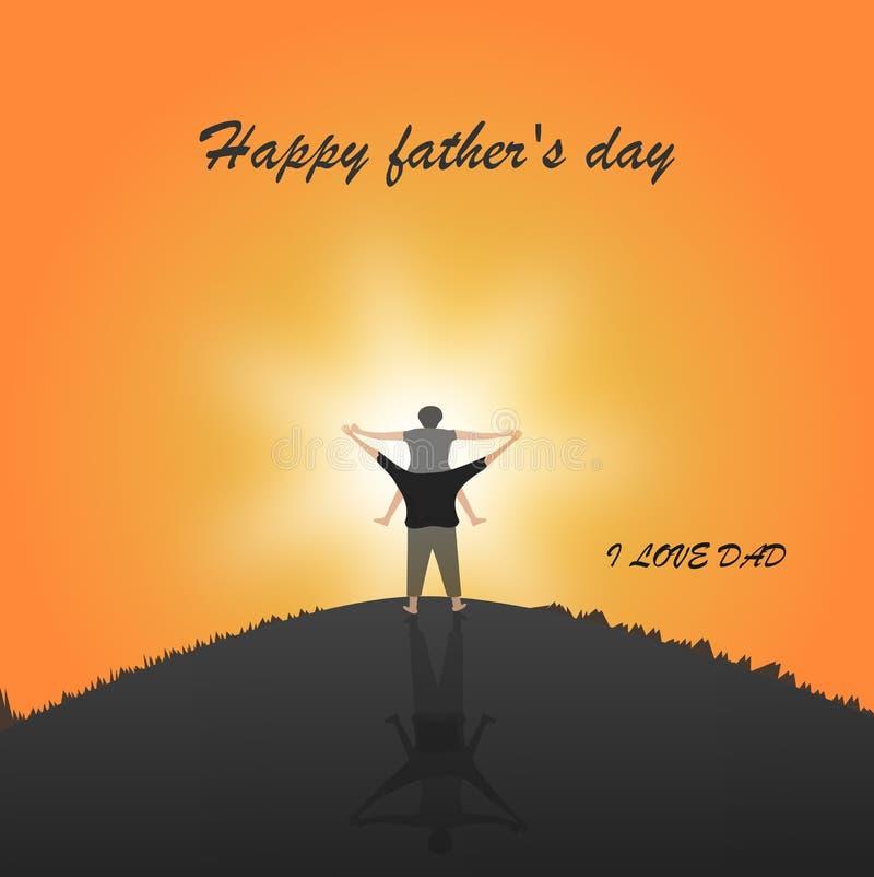 Il giorno di padre felice con la siluetta al figlio del tramonto sta guidando il collo di suo padre ai picchi di montagna nell'ug royalty illustrazione gratis