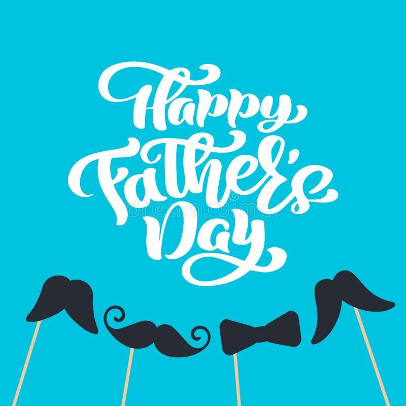 Il giorno di padri felice ha isolato il vettore che segna il testo con lettere calligrafico con i baffi ed il legame Calligrafia  illustrazione vettoriale