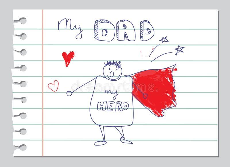 Il giorno di padri felice, papà è la mia carta di scarabocchio dell'eroe illustrazione di stock