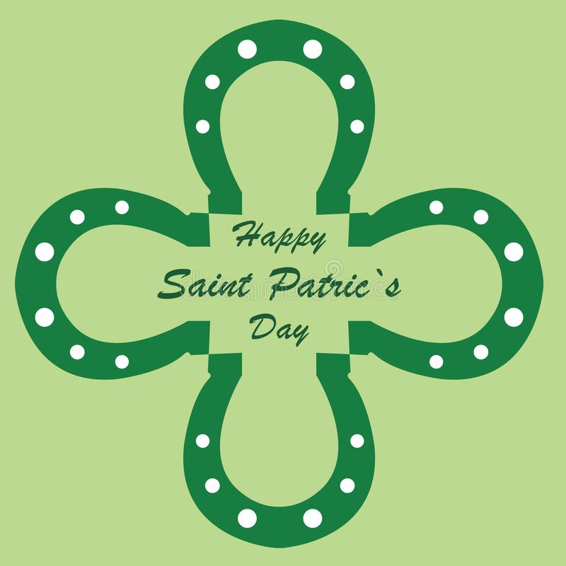 Il giorno di St Patrick felice con i ferri di cavallo sotto forma di un trifoglio verde immagini stock libere da diritti