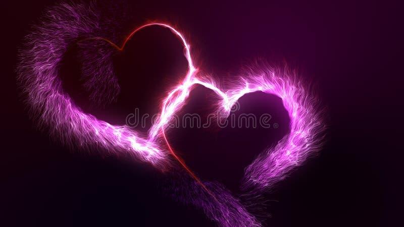 Il giorno due del ` s del biglietto di S. Valentino ha collegato l'ardore cuori luminosi rossi e rosa della particella illustrazione di stock