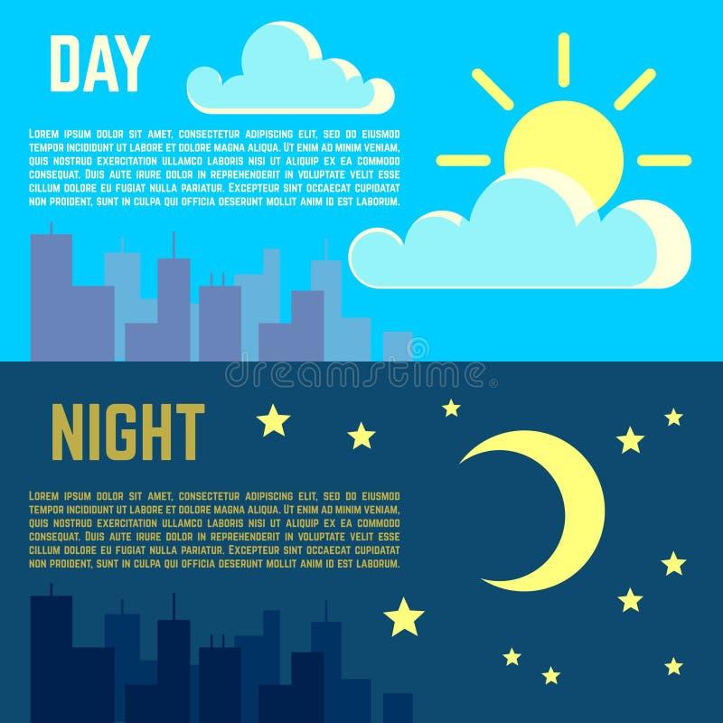 Il giorno e la notte vector i simboli piani della luna del sole delle insegne royalty illustrazione gratis