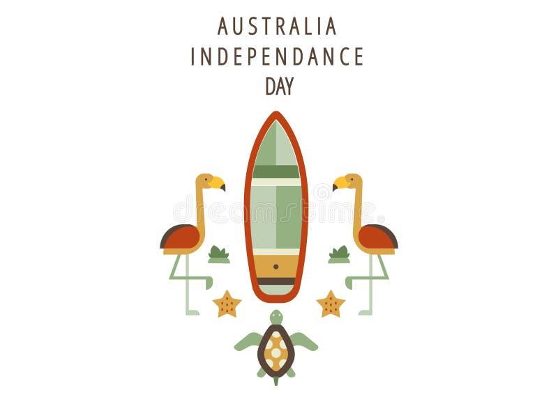 Il giorno felice dell'Australia, il 26 gennaio celebra i saluti di festa o dell'insegna o il modello della cartolina o del manife illustrazione di stock