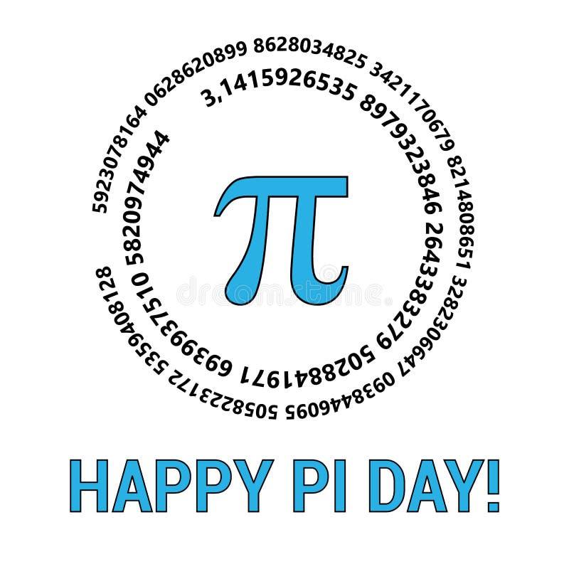 Il giorno felice di pi celebra il giorno di pi Costante matematica 14 marzo Rapporto di una circonferenza del cerchio s al suo di illustrazione di stock