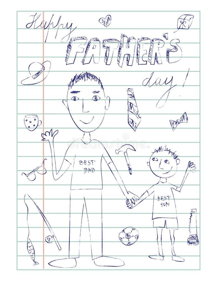 Il giorno, il papà ed il figlio di padri felice scarabocchiano la carta illustrazione di stock