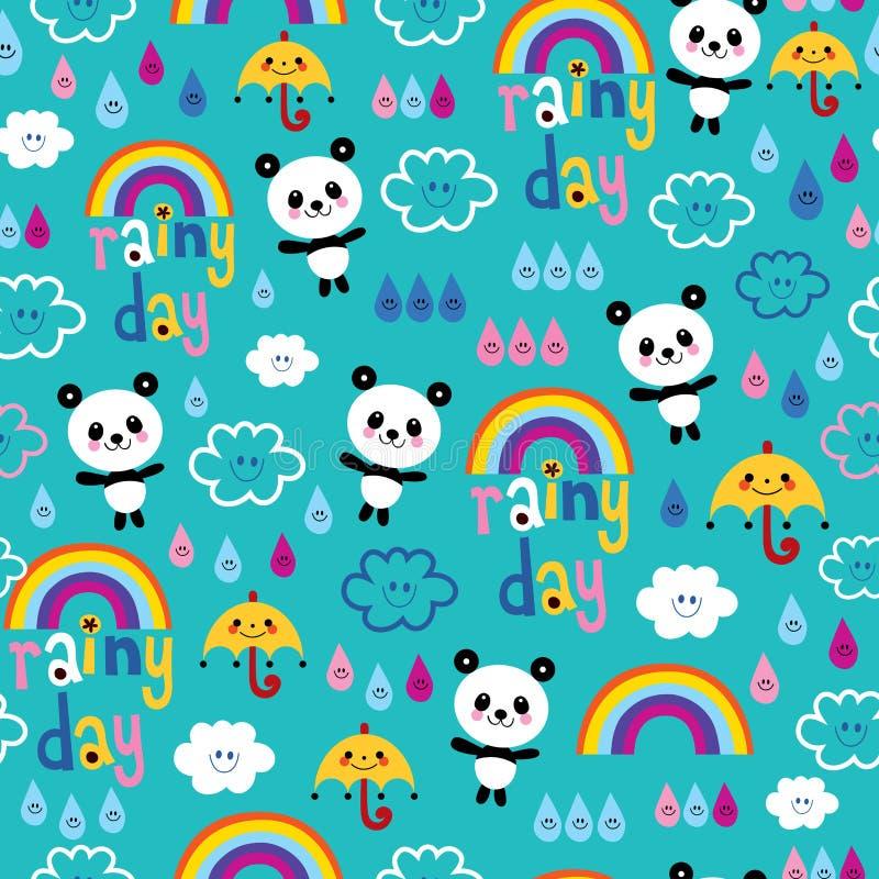 Il giorno piovoso si appanna il modello degli orsi di panda delle gocce di pioggia degli ombrelli degli arcobaleni illustrazione vettoriale