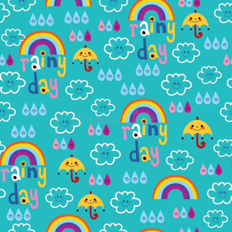 Il giorno piovoso si appanna il modello senza cuciture del cielo delle gocce di pioggia degli ombrelli degli arcobaleni illustrazione di stock