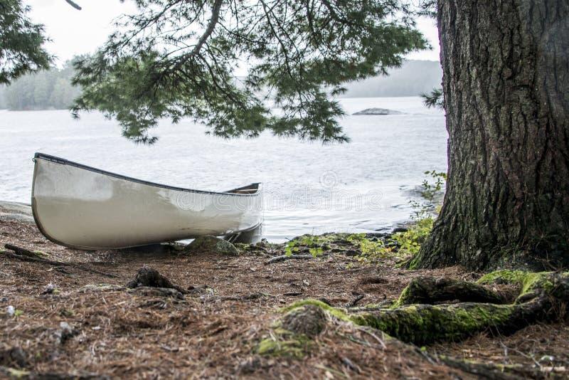 Il giorno piovoso in un lago canada Ontario di due canoe in bianco bianche della canoa dei fiumi ha parcheggiato sull'isola nel p fotografia stock