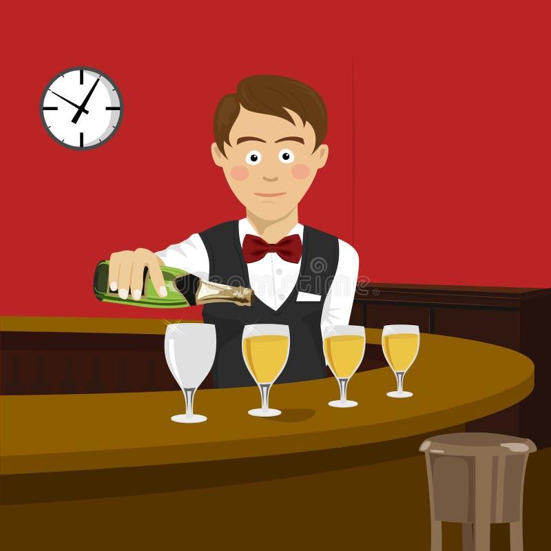 Il giovane barista versa il champagne in un bicchiere di vino nella barra illustrazione vettoriale