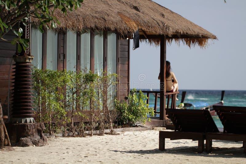Il giovane bikini marrone femminile asiatico sexy del ritratto che si siede davanti al residente di lusso della natura sulla riva fotografie stock