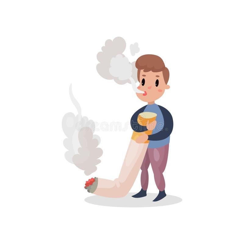 Il giovane che fumano la sigaretta gigante, l'abitudine nociva ed il fumetto di dipendenza vector l'illustrazione illustrazione vettoriale
