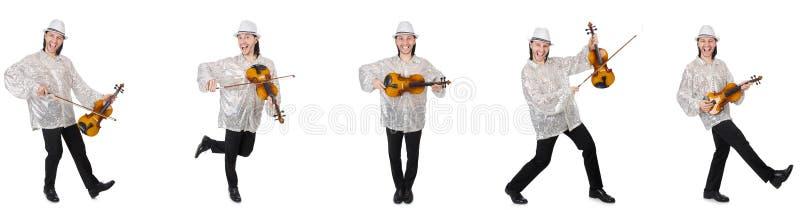 Il giovane che gioca violino isolato su bianco immagini stock