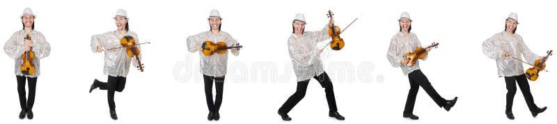 Il giovane che gioca violino isolato su bianco fotografia stock libera da diritti