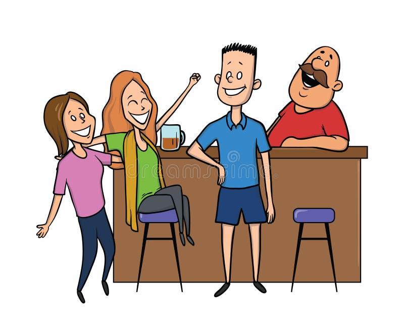 Il giovane che parla con ragazze alla barra La risata del barista Illustrazione di vettore isolata su priorità bassa bianca royalty illustrazione gratis