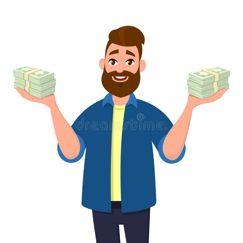 Il giovane che tengono i pacchi di contanti, i soldi o le note di valuta nel hYoung equipaggiano la tenuta dei pacchi di contanti royalty illustrazione gratis