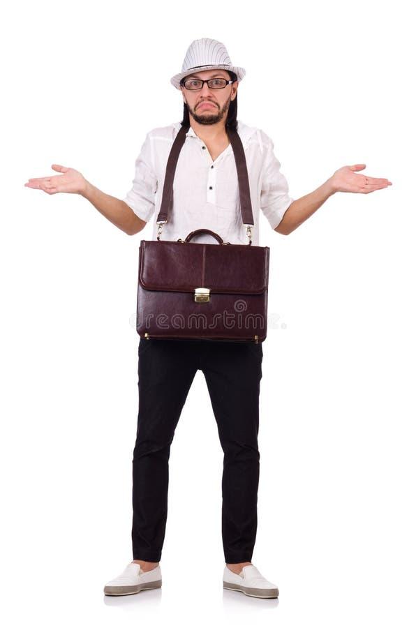 Il giovane con la borsa ed il cappello isolati sopra immagine stock libera da diritti