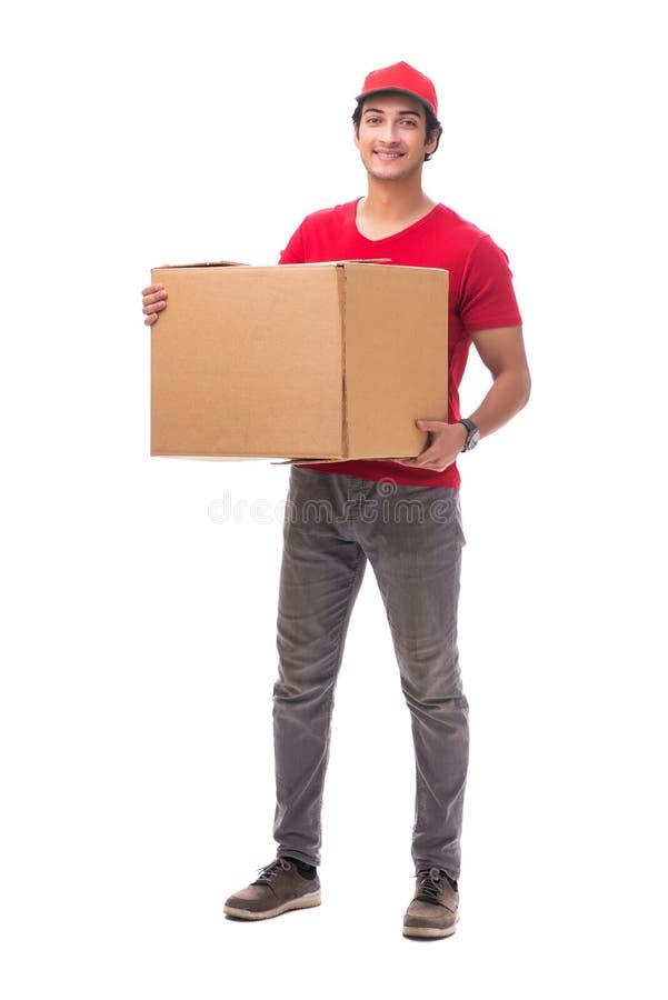 Il giovane corriere maschio con la scatola immagine stock